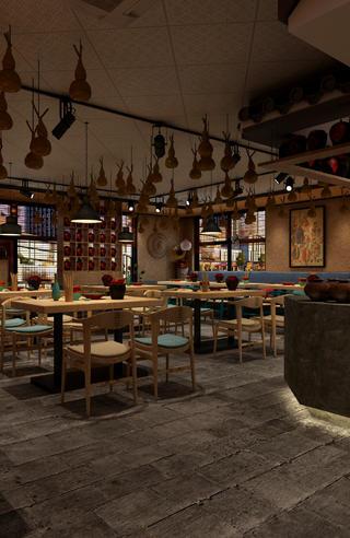 中式小酒館裝修地磚鋪貼