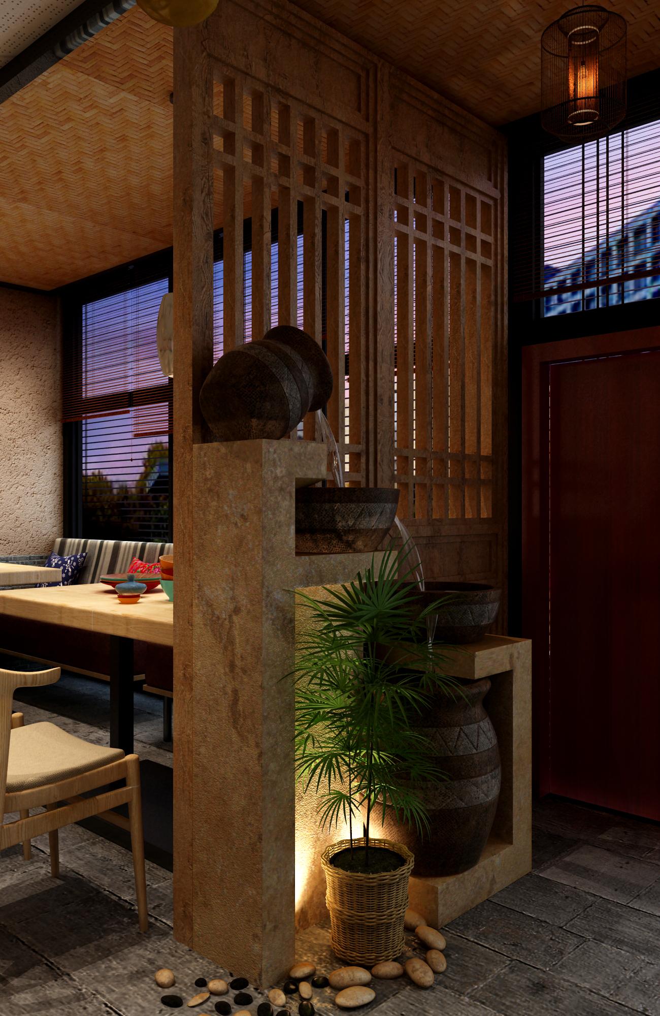 中式小酒馆装修屏风布景