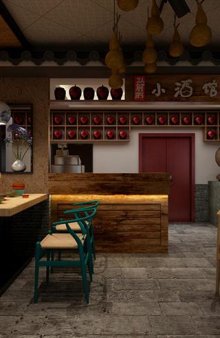 中式小酒馆装修餐椅图片