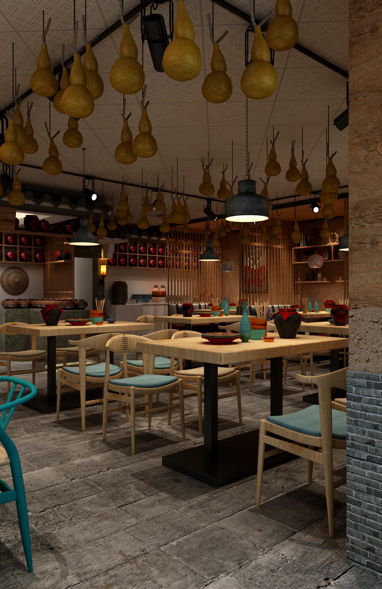 中式小酒馆装修餐桌图片