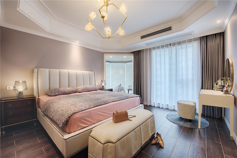 四居室现代美式家主卧效果图