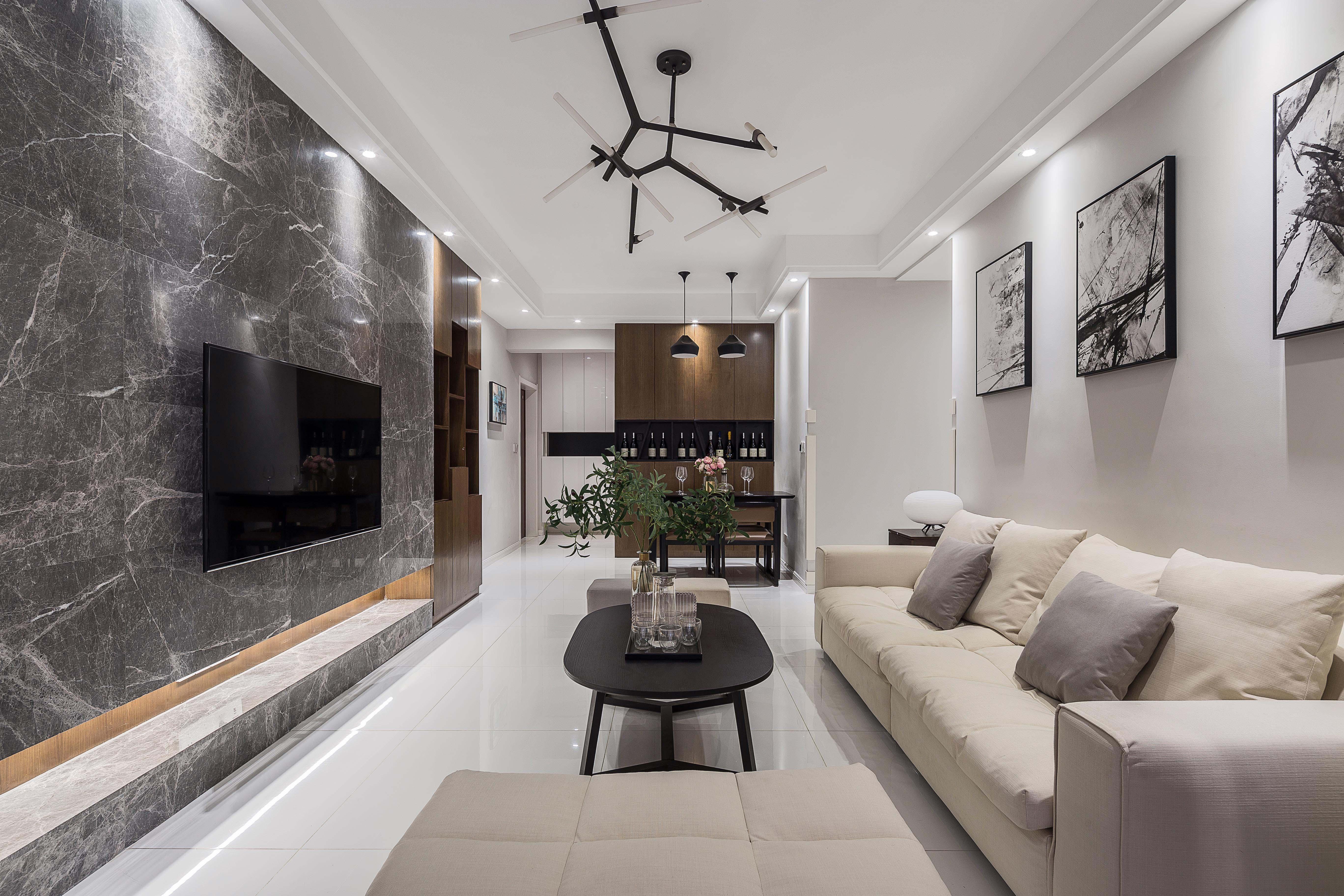 三居室现代简约之家效果图