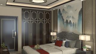 110平中式风格装修卧室效果图