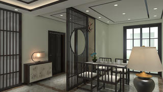 110平中式风格装修玄关设计