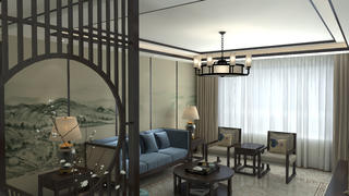 110平中式风格装修沙发背景墙设计