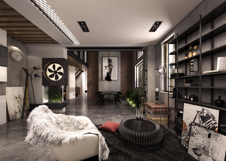 大户型loft风格装修客厅效果图