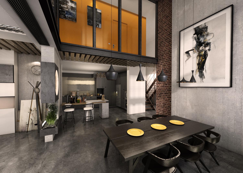 大户型loft风格装修餐厅效果图