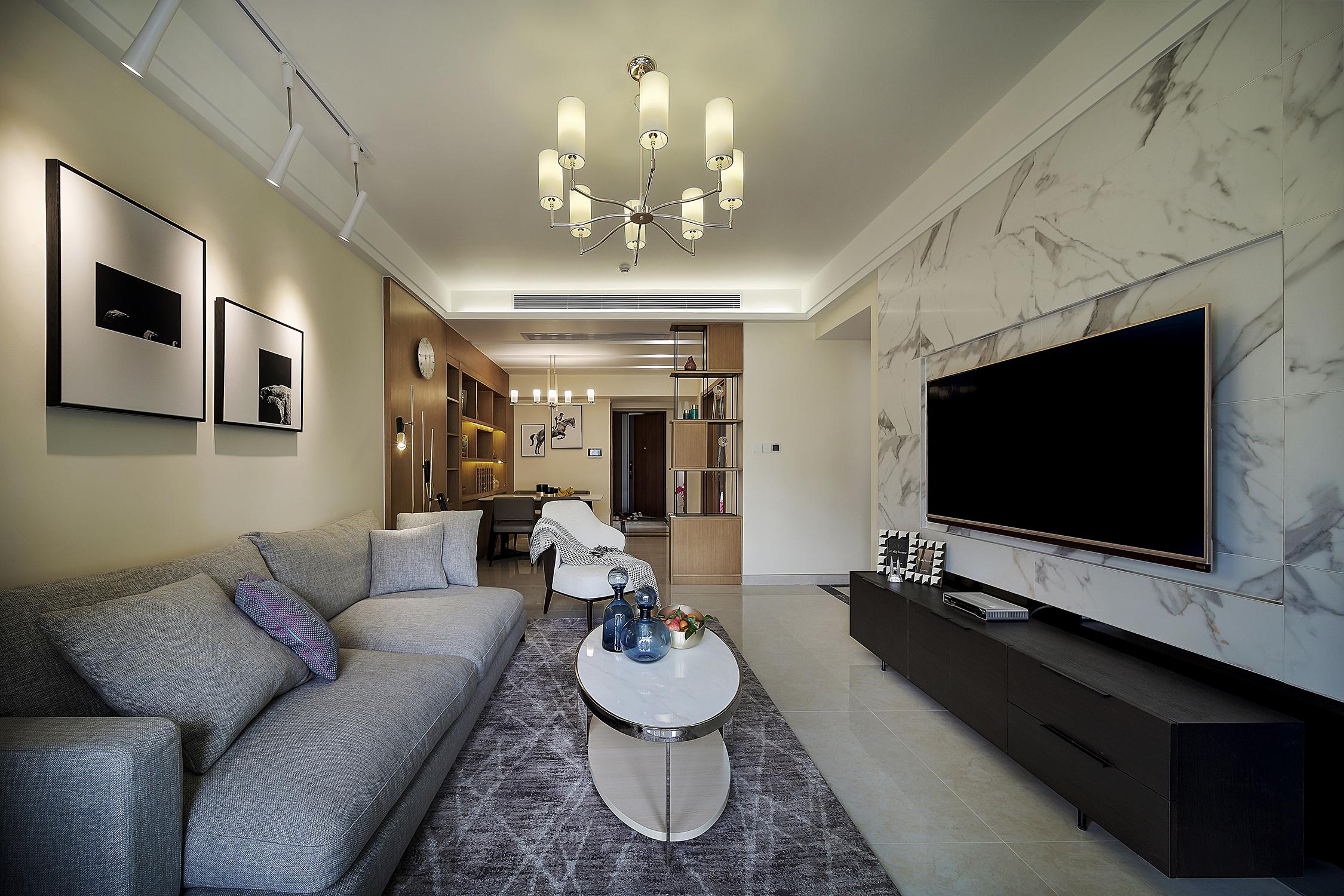 三居室现代风格装修电视柜图片