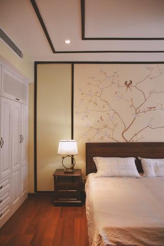 130平新中式设计卧室背景墙图片