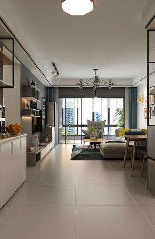110平现代风格家客厅过道