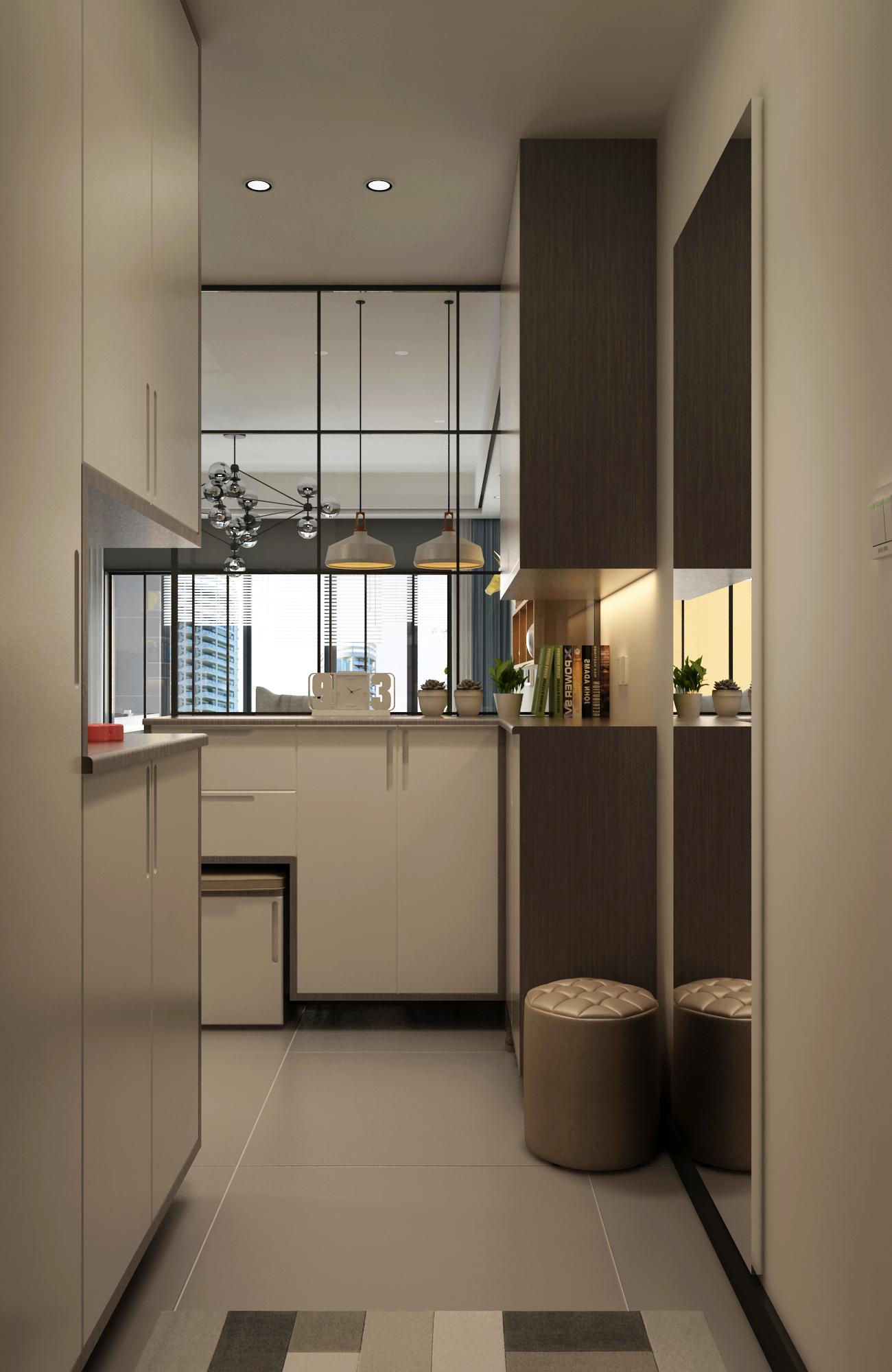 110平现代风格家玄关设计