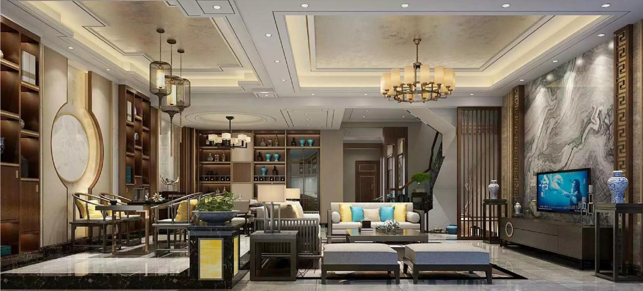 豪华中式装修客餐厅效果图