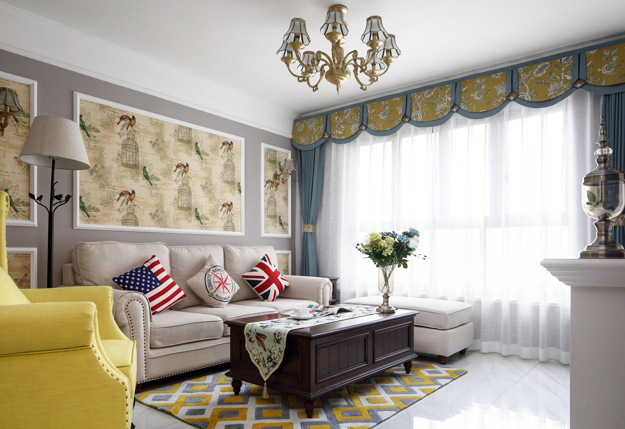 100㎡美式之家客厅效果图