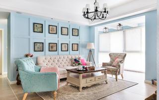 三居室简约美式设计沙发背景墙图片