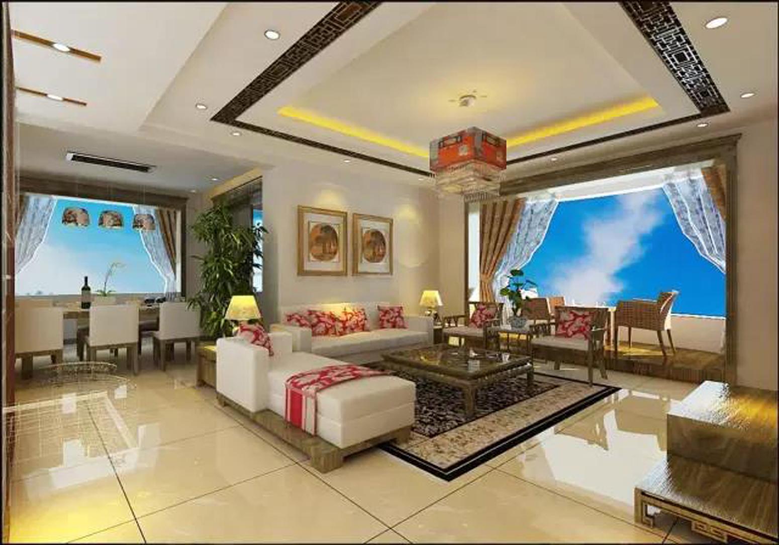 90㎡新中式装修客厅效果图