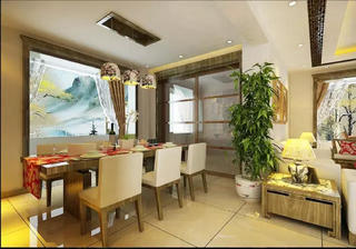 90㎡新中式装修餐厅欣赏图