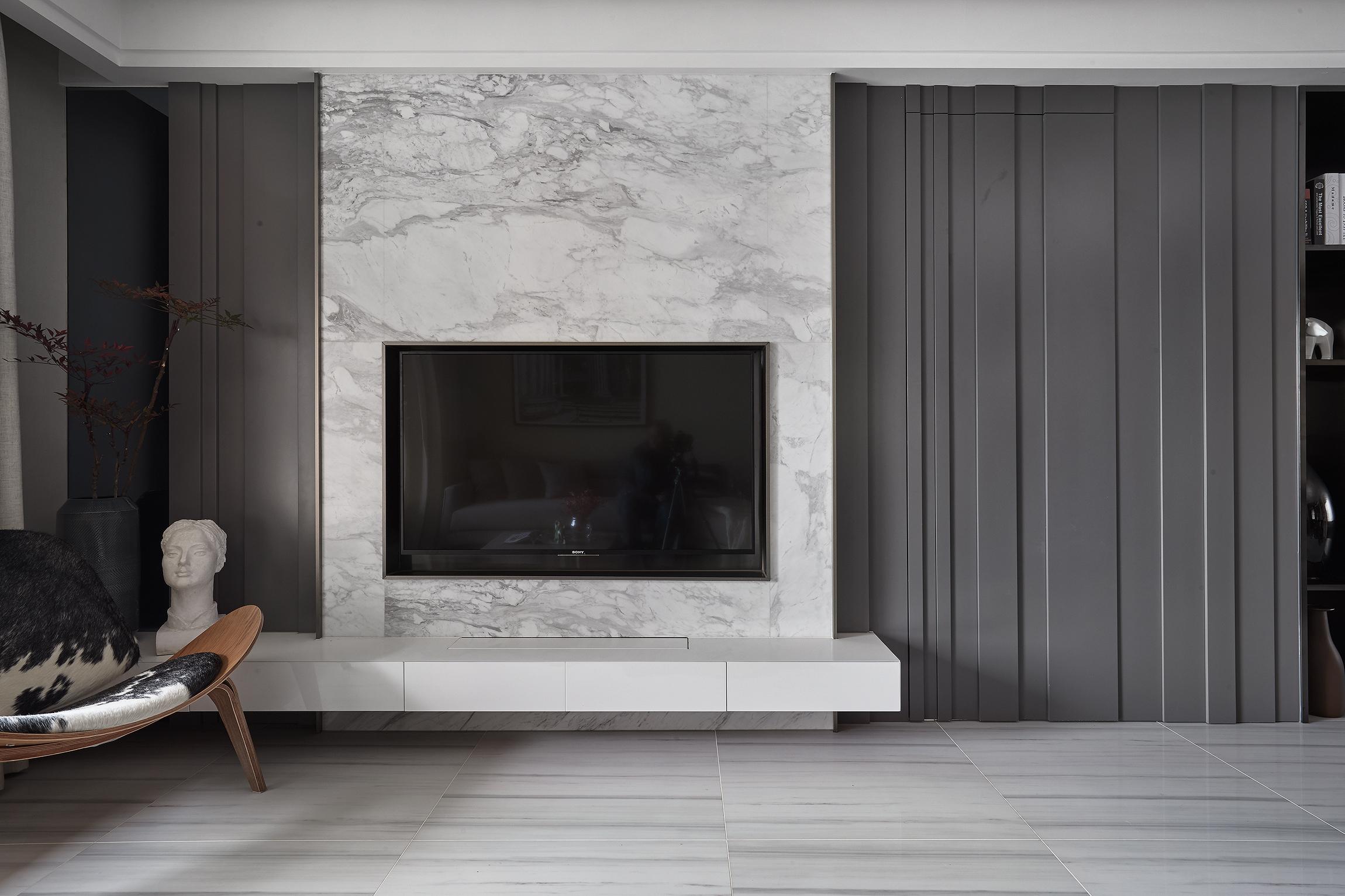 三居室简约风装修电视背景墙图片