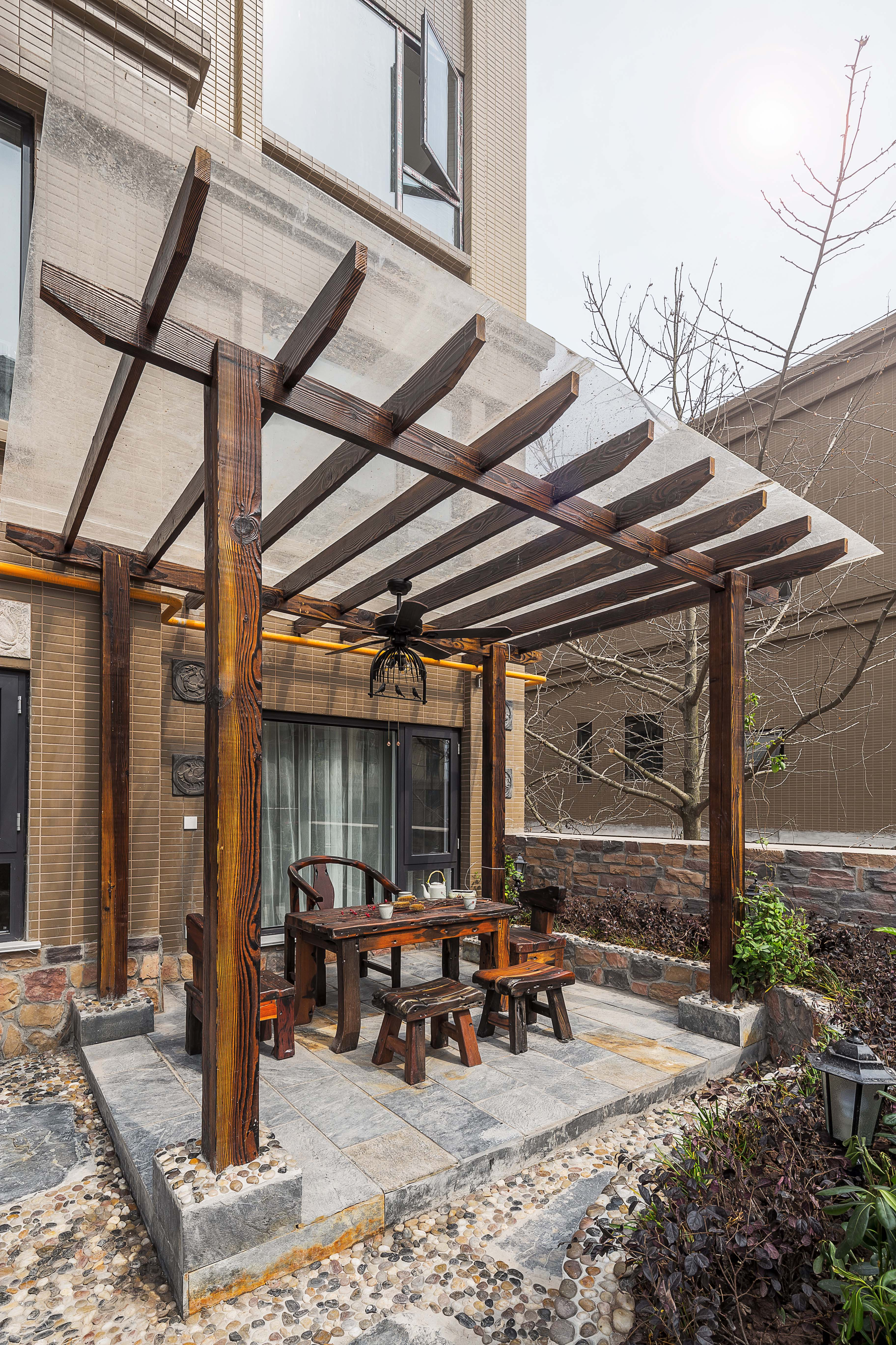 美式三居室装修设计室外休闲茶室
