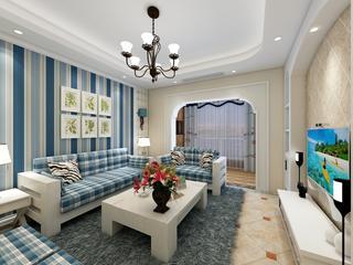110㎡地中海风格家沙发背景墙图片