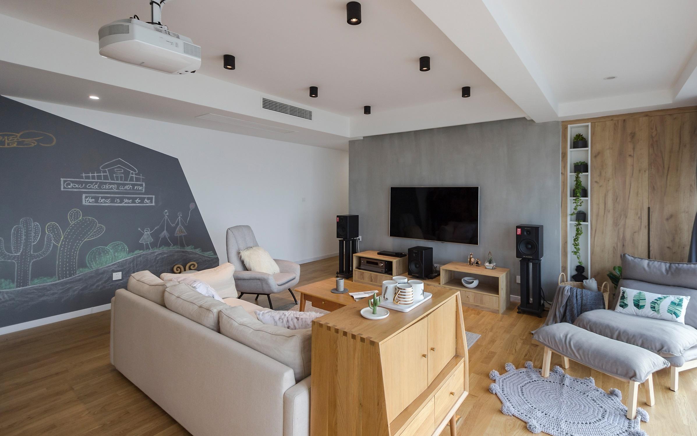 140平北欧风格家电视背景墙图片