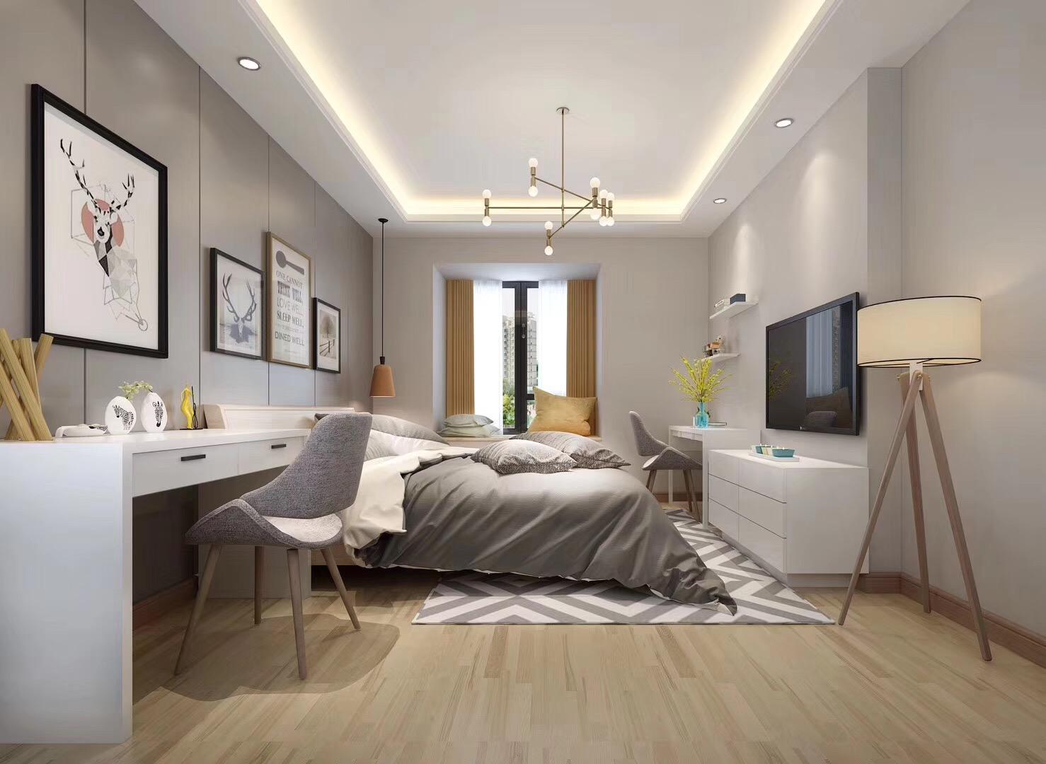 130平现代简约设计卧室效果图