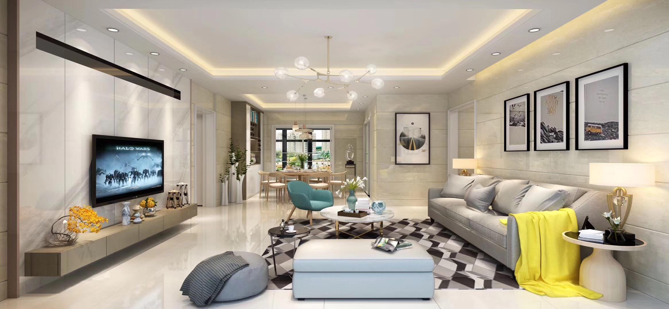 130平现代简约设计客厅效果图