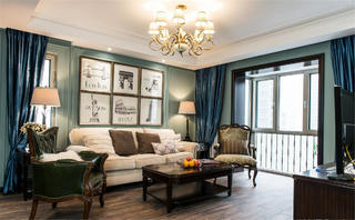 美式二居室装修客厅效果图