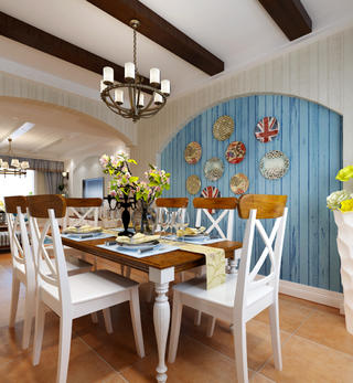 150㎡地中海风格家餐厅背景墙