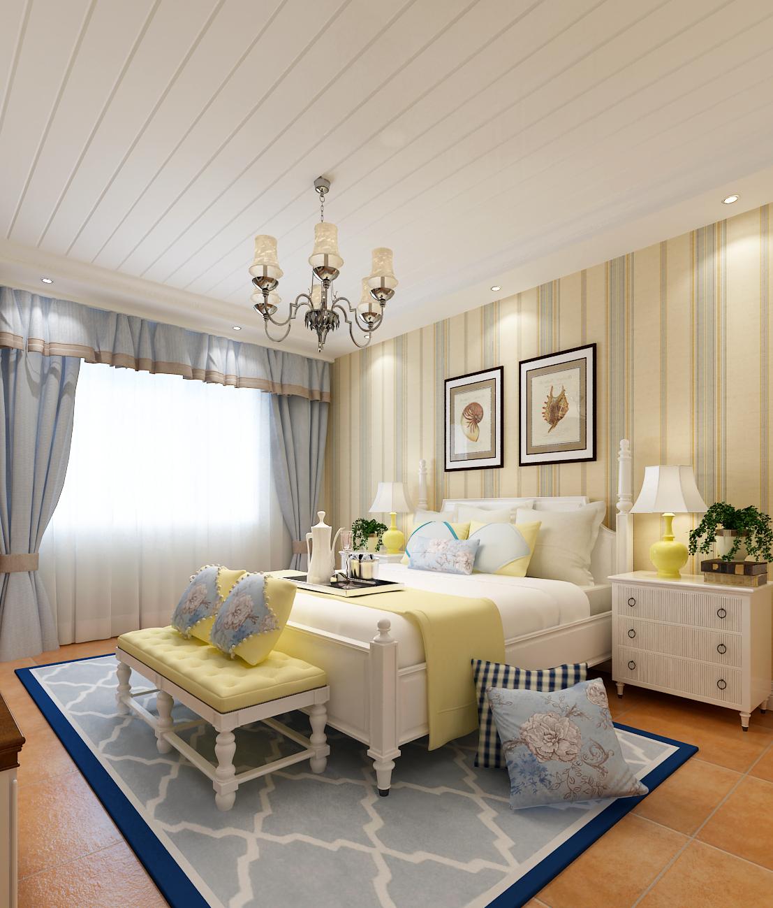 150㎡地中海风格家卧室效果图