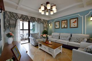 三居室美式设计沙发背景墙图片