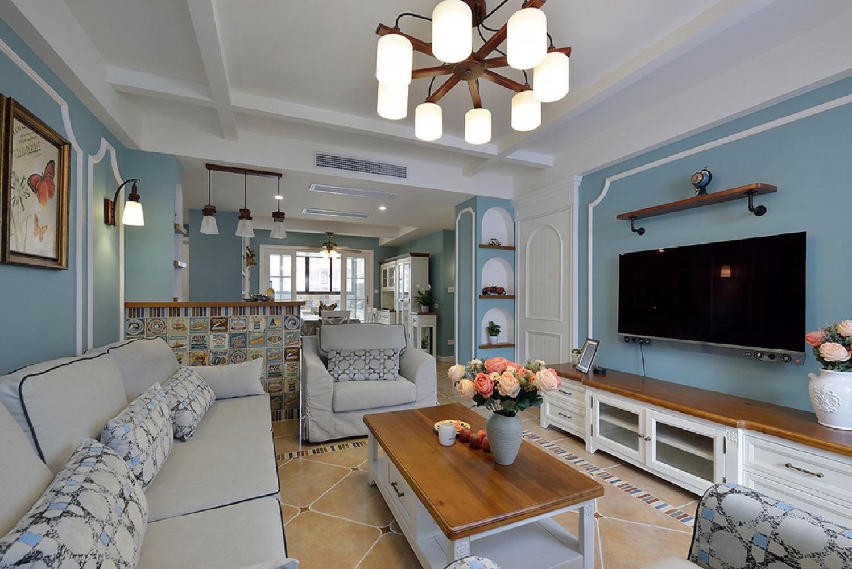 三居室美式设计客厅效果图