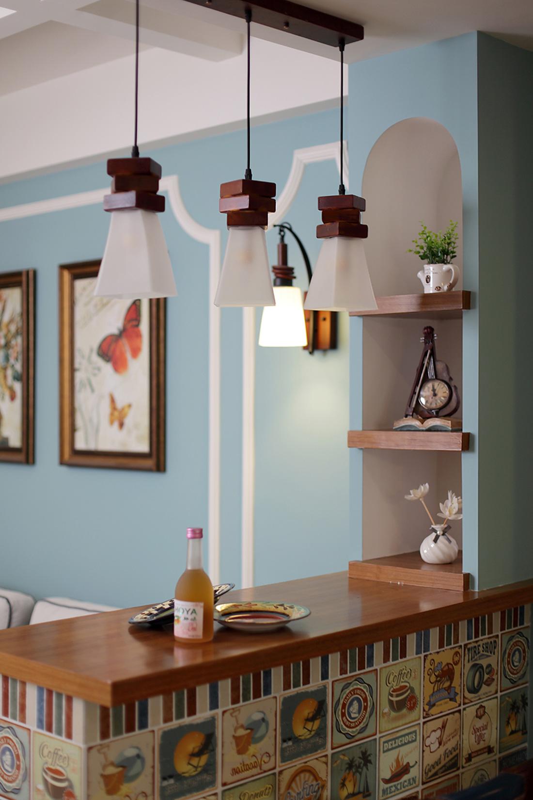 三居室美式设计吧台灯具图片