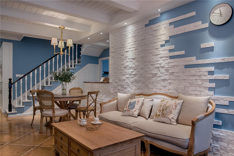 美式复式装修沙发背景墙图片