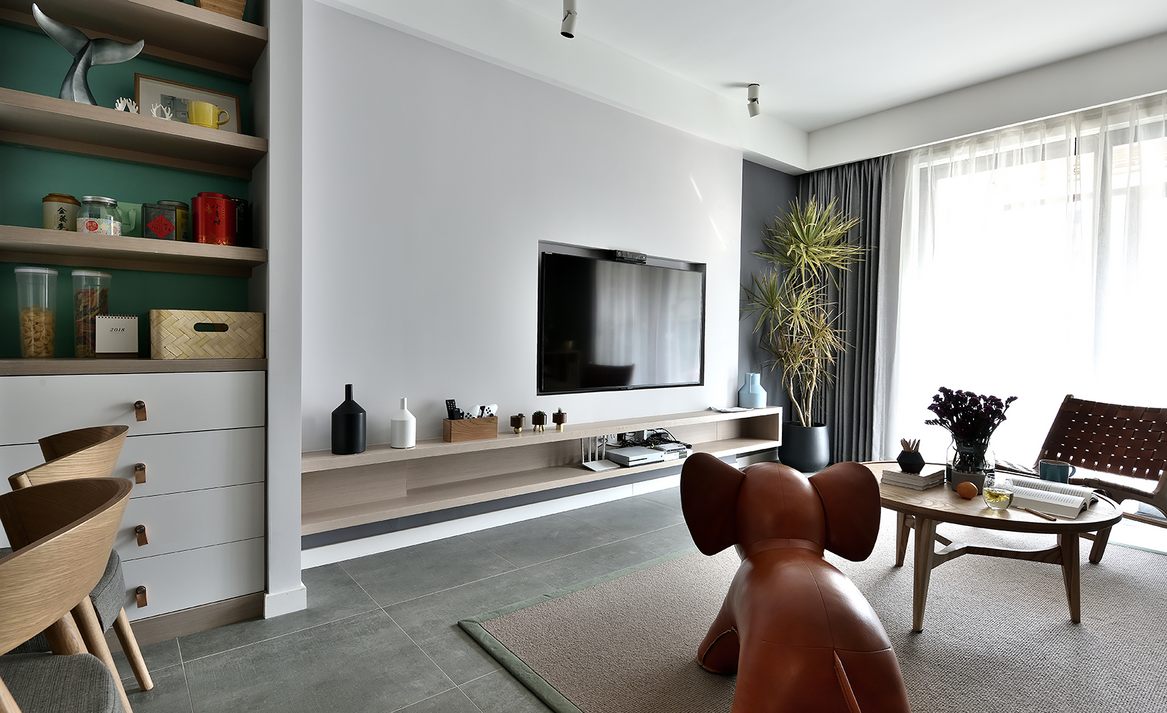 120㎡北欧风格家电视背景墙图片