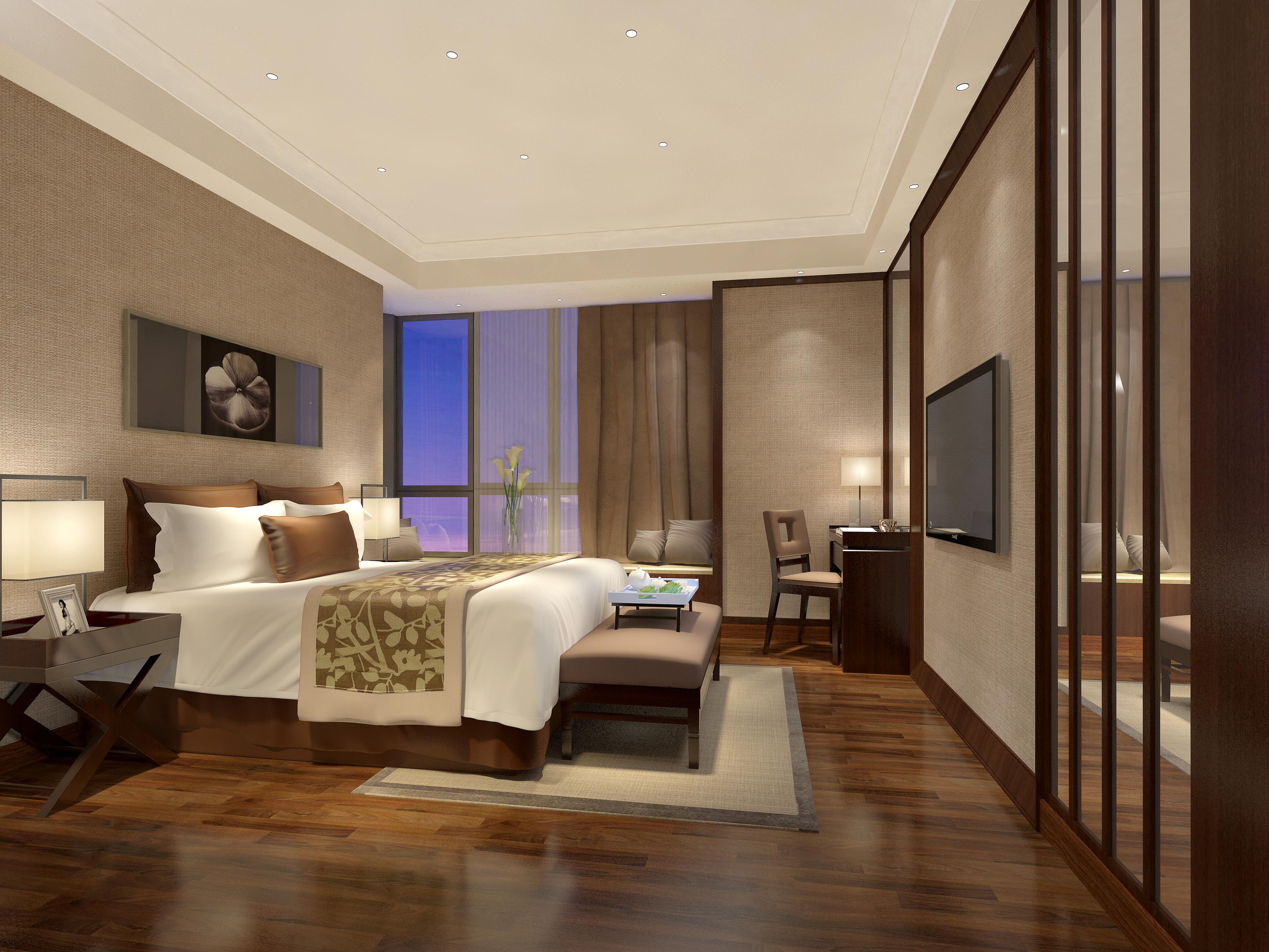 轻奢中式风装修卧室效果图