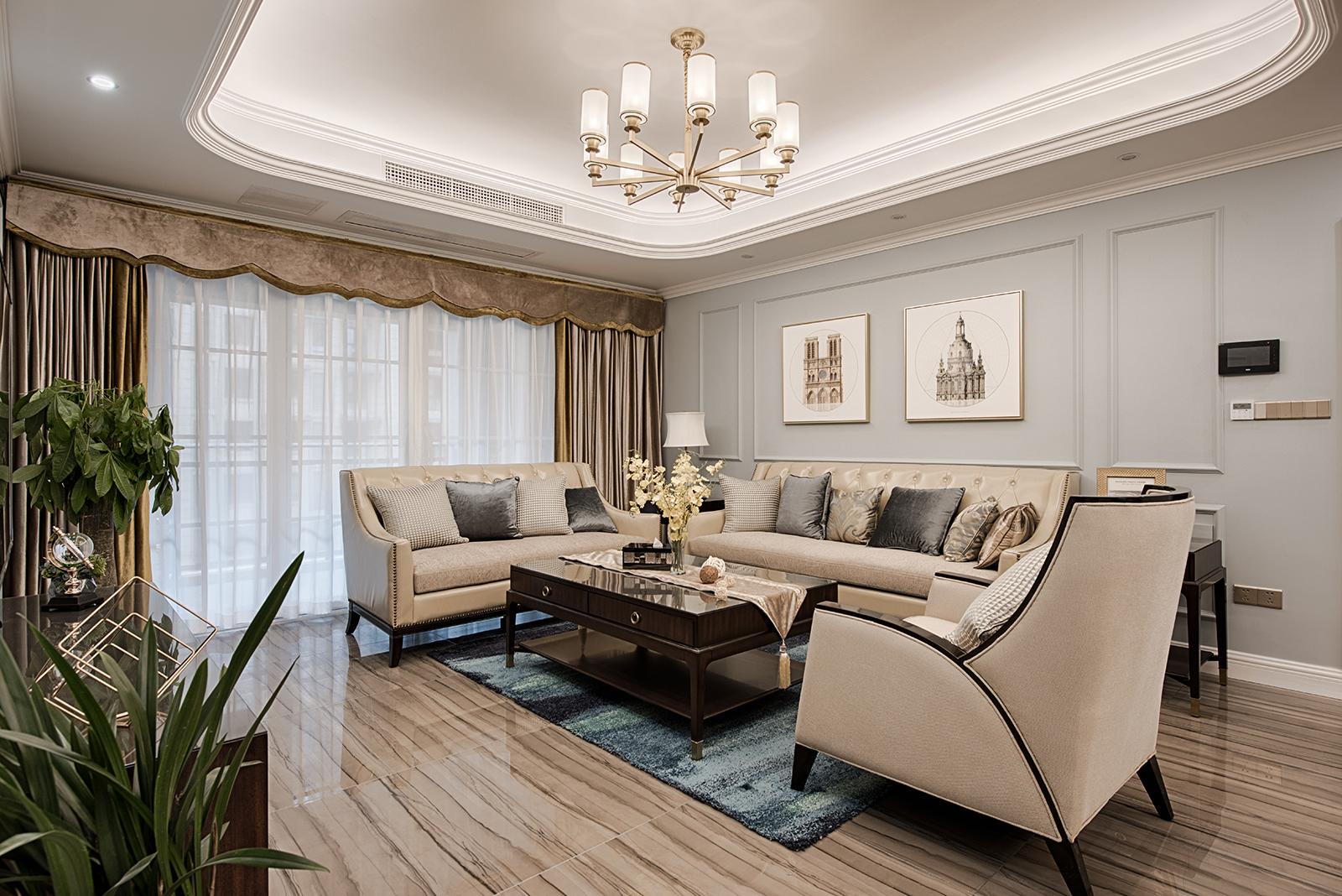 三居室简约美式家客厅效果图