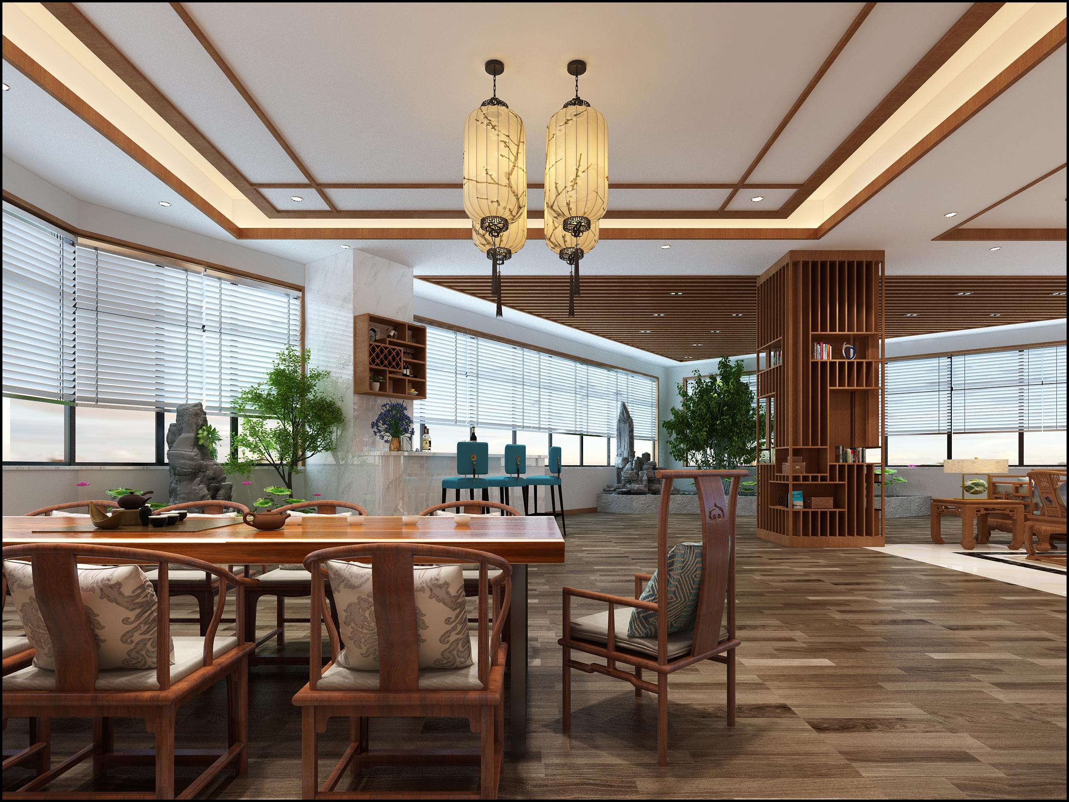 新中式轻奢办公室装修品茶区效果图