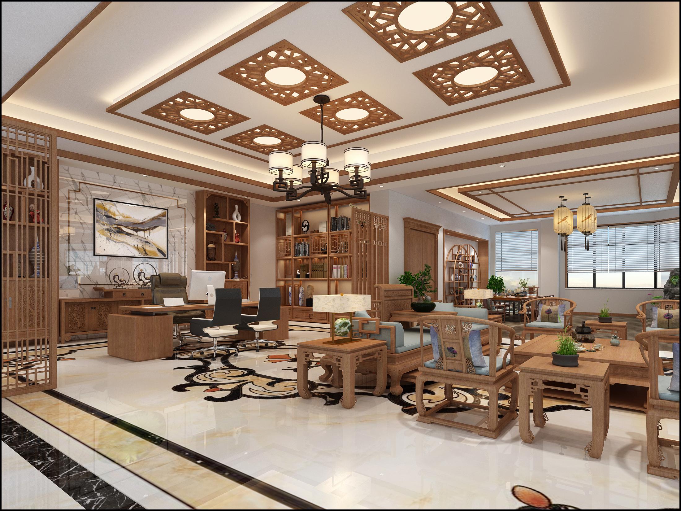 新中式轻奢办公室装修会客区效果图