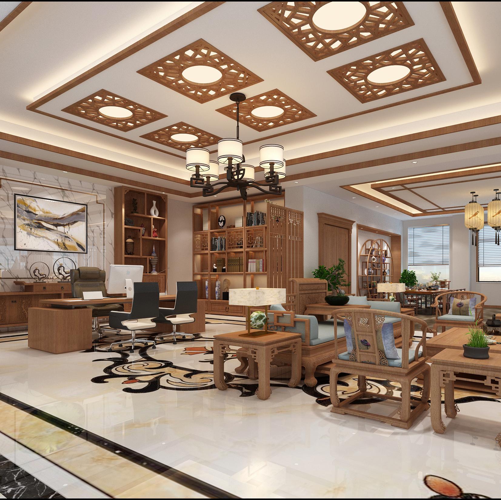 新中式轻奢办公室装修效果图