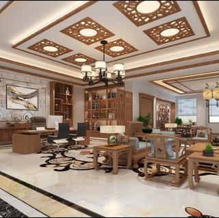 新中式轻奢办公设计效果图