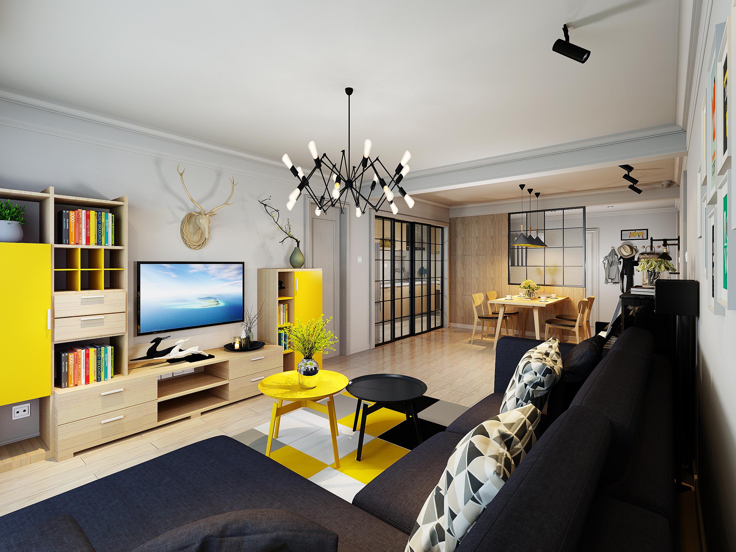 90㎡二居室设计客厅效果图
