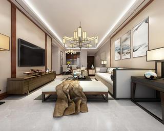 100平新中式之家客厅效果图