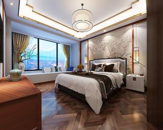 100平新中式之家卧室效果图