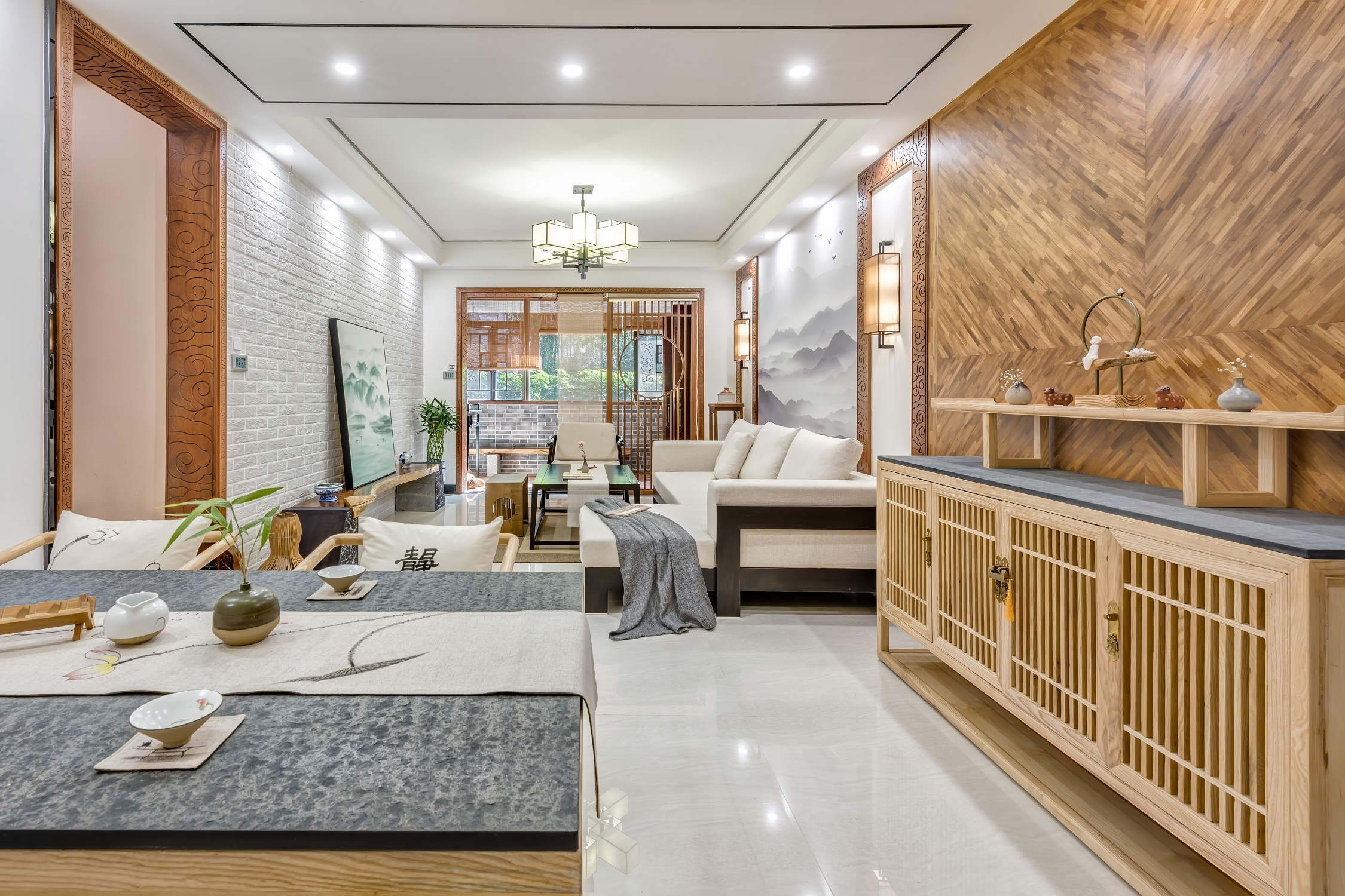 中式三居室设计餐厅背景墙
