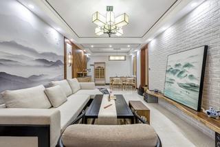 中式三居室设计客厅效果图
