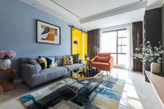110㎡现代风格家沙发背景墙图片