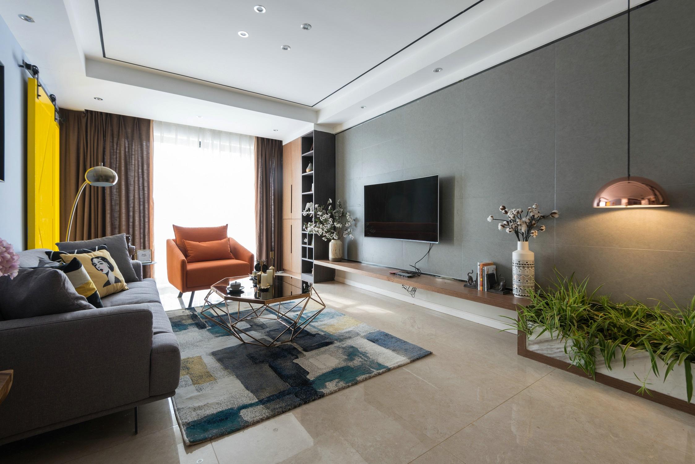 110㎡现代风格家电视背景墙图片