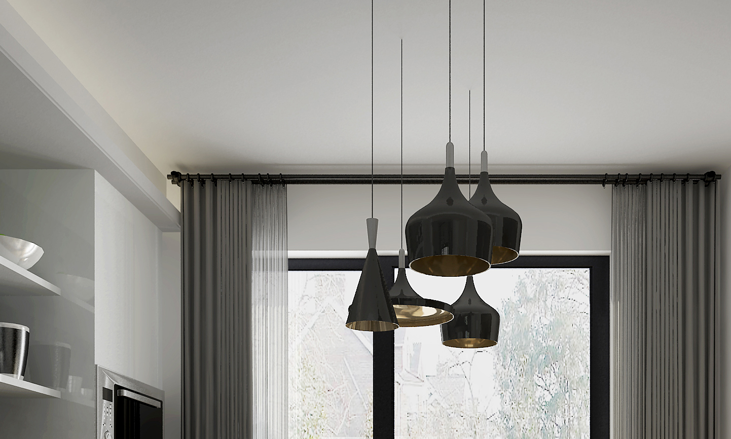 北欧二居室装修餐厅吊灯图片