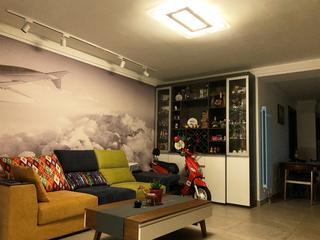 二居室混搭装修沙发背景墙图片