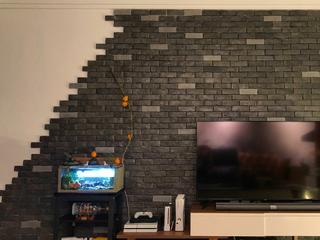 二居室混搭装修电视背景墙图片